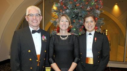 Rear Admiral Terry Benedict, Gail Carl, and  Midshipman Samantha Carl, Navy.