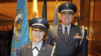 Air Force Airman 1st Class Nicole Luben and Senior Airman Daniel Smith, part of the honor guard.