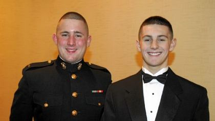 Marine 2nd Lt. Jeremy Harbaugh and David Tallman.