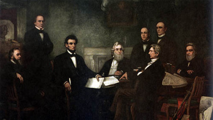 This painting by Francis Bicknell Carpenter shows President Abraham Lincoln with his Cabinet during the first reading of the Emancipation Proclamation in 1862. From left, Edwin Stanton, Salmon Chase, Lincoln, Gideon Welles, Caleb Smith, William Seward, Montgomery Blair and Edward Bates. The painting is in the Senate wing of the U.S. Capitol.
