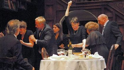"The cast of Playhouse Rep's ""August: Osage County,"" with Mary Rawson in the role of Violet in the center."