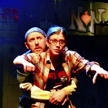 "Breakout performer Melinda Helfrich and MVP actor David Whalen as Duck and her dad in ""The Monster in the Hall"" at City Theatre."