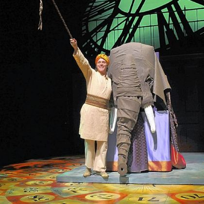 "Richard B. Watson portrayed the elephant driver in ""Around the World in 80 Days"" at Pittsburgh Public Theater, where Michael Schweikardt's board-game floor made for great scenic design."