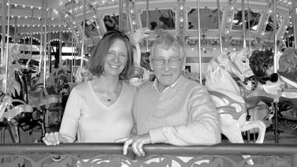 Carl Hughes with his daughter Mary Lou Rosemeyer at Kennywood's Merry-Go-Round in 2006.