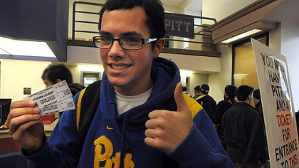 Frank Paciaroni, 18, a freshman at the University of Pittsburgh, scored two tickets to Stephen Colbert's campus appearance next week.