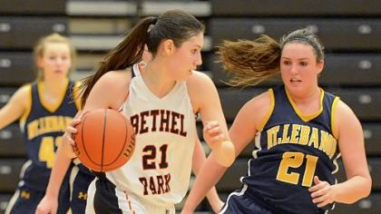 Bethel Park's Megan Marecic, who leads the team in scoring, drives to the basket against Mt Lebanon's Alex Ventrone during a game last week.