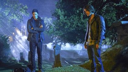 Bill Skarsgard, left, and Landon Liboiron investigate a murder in the Netflix original series &quot;Hemlock Grove.&quot; Set in a Western Pennsylvania steel town, the series is based on a novel by Brian McGreevy, who grew up near Charleroi.