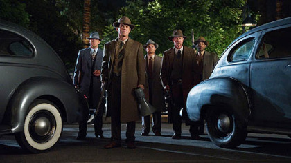 "From left, Ryan Gosling, Josh Brolin, Michael Pena, Robert Patrick and Anthony Mackie in ""Gangster Squad."""