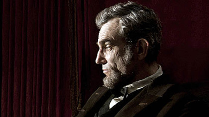 Daniel Day-Lewis portraying Abraham Lincoln in the film &quot;Lincoln.&quot;  
