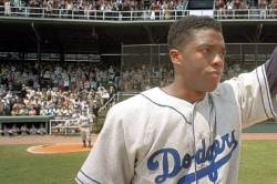 Movie review / &#039;42: The Jackie Robinson Story&#039; shows the pain that went with his triumphs