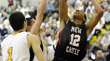 New Castle's Shawn Anderson gets a shot up against North Allegheny Friday.