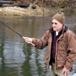 No reel -- tenkara fly fishing keeps it simple