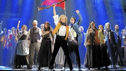 The cast of the new production of &quot;Les Miserables&quot; sings &quot;One Day More.&quot;