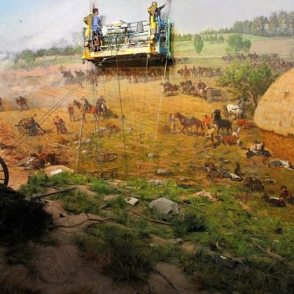 The Cyclorama painting, depicting Pickett's charge at the Battle of Gettysburg in July 1863, is being cleaned because of the grime accumulating on the surface of the canvas lining.