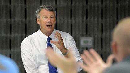 Former FBI agent Timothy J. Maloney talks to participants during a school-crisis seminar at the Hempfield Township Municipal Building on Saturday.