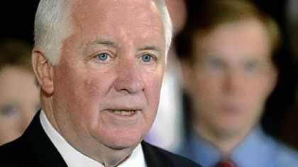 Gov. Tom Corbett speaks at a news conference in State College, Pa., on Jan. 2, when he announced the filing of a lawsuit against the NCAA over the Jerry Sandusky scandal.