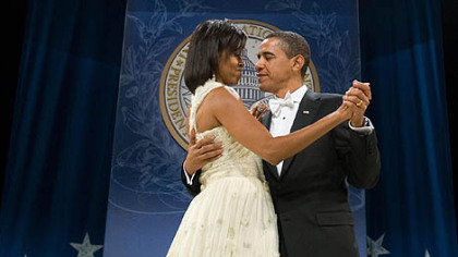 President Barack Obama and Michelle Obama at the Southern Regional Inaugural Ball for the 2009 inauguration. While fewer people are coming to the second inaugural, the number of official balls has dropped from 10 to two, making a ticket difficult to obtain.