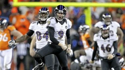 Baltimore Ravens kicker Justin Tucker reacts after hitting the winning field goal against the Denver Broncos in overtime Saturday.