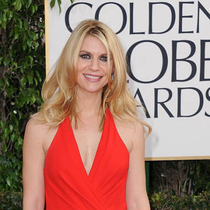 Golden Globe winner Claire Danes wore a candy apple red Versace gown.