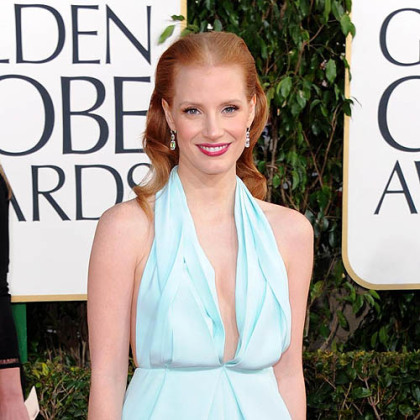 Golden Globe winner Jessica Chastain wore a seafoam blue Calvin Klein dress.