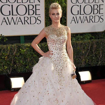 Julianne Hough&#039;s Monique Lhuillier gown featured a blush color, a full tulle bottom and gold studded detailing on the bodice