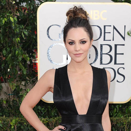 Actress Katharine McPhee arrives on the red carpet for the Golden Globe awards.