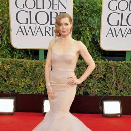 Amy Adams&#039; strapless mermaid gown was from Marchesa. 