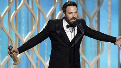 "Ben Affleck wins the award for best director for ""Argo"" during the 70th Annual Golden Globe Awards."