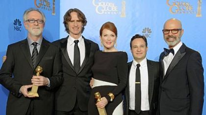 """Game Change"" producer Gary Goetzman, left, director Jay Roach, actress Julianne Moore, writer Danny Strong and producer Steve Shareshian celebrate Golden Globe wins for best miniseries or motion picture made for television and best actress, miniseries or TV movie for Ms. Moore. Ed Harris also won for supporting actor, miniseries or TV movie."