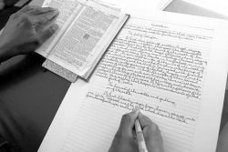 Copying Bible by hand becomes epic effort