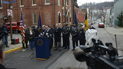 Mayor Luke Ravenstahl addresses a crowd during a press conference about public safety on 16th and Carson Streets.