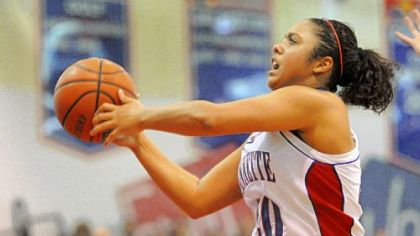 Jeannette's Monique Redman goes up for a shot in second-half action Monday night against Greensburg Central Catholic.