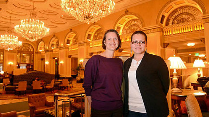 ACLU staff attorney Sara Rose, left, and plaintiff Angelica Davila on Monday inside the Omni William Penn Hotel in Downtown Pittsburgh.