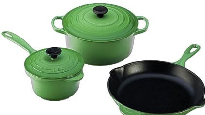 Emerald Green products from LeCrueset.