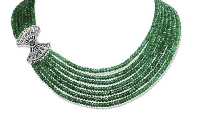 Lao Tong Multi-Strand Emerald Necklace with Black Enamel and Diamond Fan in 18kt White Gold, $35,000, by Ivanka Trump.  Available at Louis Anthony.