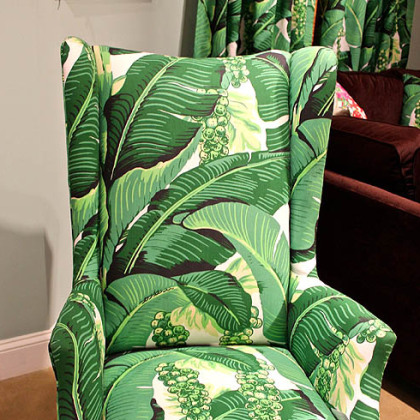 C.R.Laine's Copley Arm chair upholstered  in Dorothy Draper's Brazilliance Palm fabric.