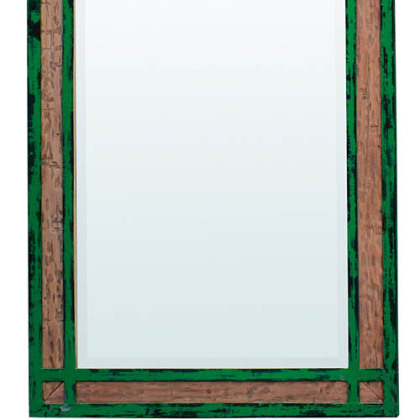 Steven Shell&#039;s green iron and wood mirror.