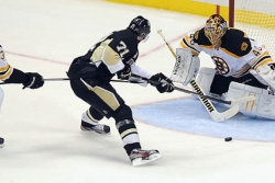 Rask stymies Penguins' high-powered offense, but gets some breaks, too