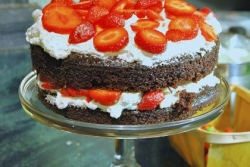 Strawberries and Cream Chocolate Birthday Cake