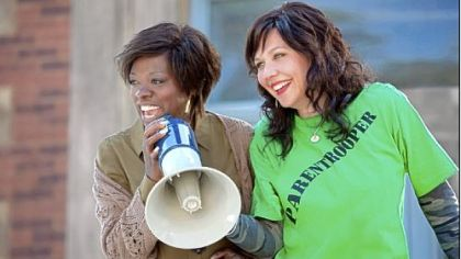 "Viola Davis, left, and Maggie Gyllenhaal fight to fix their failing school system in the  filmed-in-Pittsburgh ""Won't Back Down."""