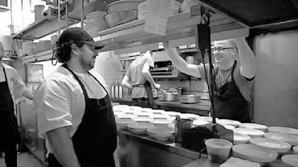 David Santos, left, hosted Justin Severino, chef of Cure in Lawrenceville, at Louro, Mr. Santos' restaurant in Manhattan. A collaborative dinner featured Mr. Severino giving a butchering demonstration followed by a multi-course menu of items from Mr. Severino's restaurant.