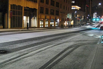 A burst of early-morning snow coated the Boulevard of the Allies near Point Park University around 4:30 a.m.