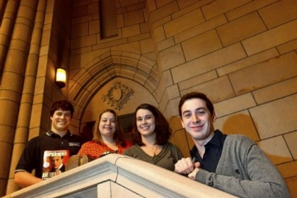 Pitt students who won the Stephen Colbert treasure hunt last summer are, from left, Ben Zaczek, Justine Buchman, Daniela Aizpitarte and Daniel Stough.