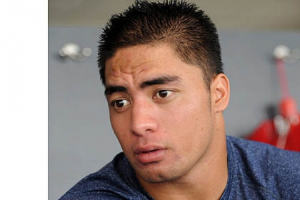 Notre Dame linebacker Manti Te'o at NCAA college football media day in August.
