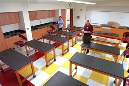 The foundation created by Bill Campbell, a Homestead native who made a fortune in technology, has allowed for numerous academic and structural improvements throughout the Steel Valley School District, such as this remodeled science classroom at the middle school.