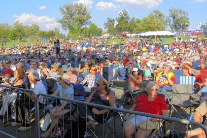 Crowds attending the Main Stage performance at the 2012 King Biscuit Blues Festival in Helena, Ark.