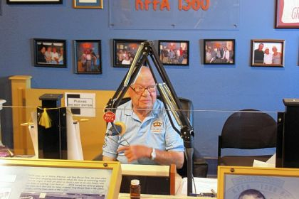 """Sunshine"" Sonny Payne broadcasts ""King Biscuit Time"" from Delta Cultural Center in Helena. He has been host of the radio show since 1952."
