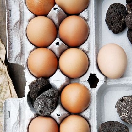 Eggs simply stored with truffles pick up their flavor.