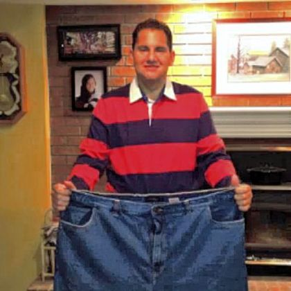 After: His old jeans don't fit.