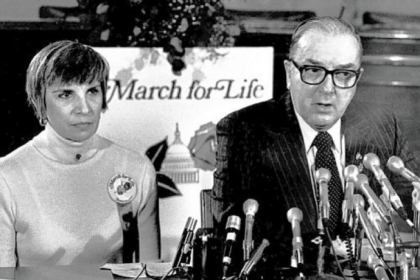 Nellie Gray, with Sen. Jesse Helms, 1980
